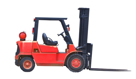 red industrial fork lift truck isolated on white background Stock Photo