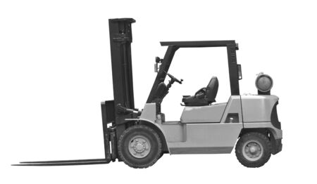 industrial fork lift truck isolated on white background