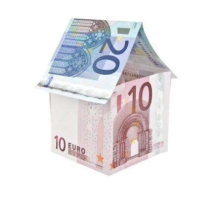 ten euro note house with twenty euro note roof photo