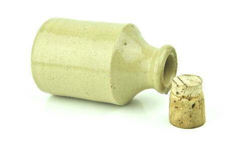 stoneware: an old vintage stoneware bottle with cork out