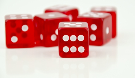 closeup of number six on a dice Stock Photo
