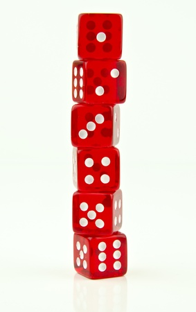 end to end stack of red dice Stock Photo