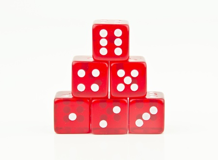 red dice in a pyramid