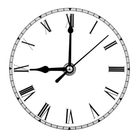 analogue clock face displaying nine oclock