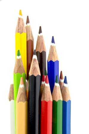 some coloured pencil tips standing up tall Stock Photo - 16195996