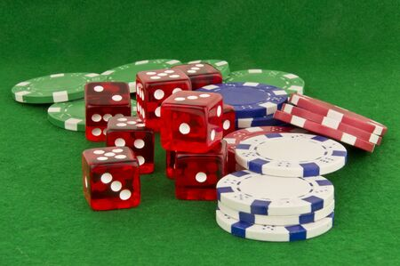 green beize with poker chips and dice