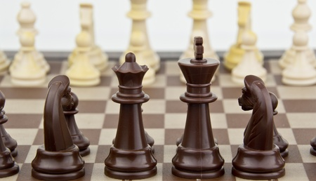 chess pieces focus on front pieces Stock Photo