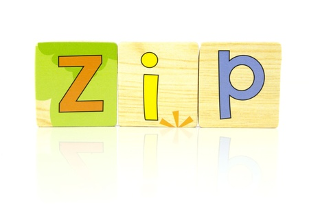 zip spelt out with wooden tiles