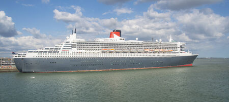 SOUTHAMPTON - JULY 13 2014: Queen Mary 2 cruise ship detail. Queen Mary 2 is Cunards flagship ready for Transatlantic Crossing from Southampton