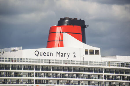 SOUTHAMPTON - JULY 13 2014: Queen Mary 2 cruise ship detail. Queen Mary 2 is one of the flagships of Cunard Editorial