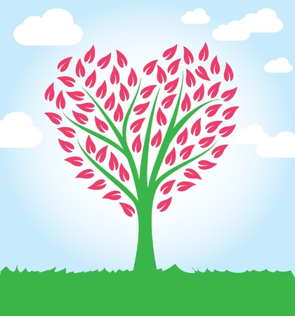 tree heart shape Vector