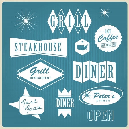 diner: Vintage restaurant logo, badges and labels Illustration