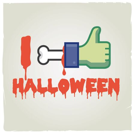 i like halloween   Funny concept halloween and social network icon Stock Vector - 16211799