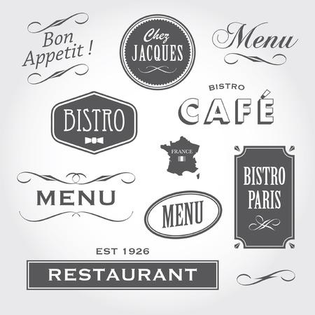 vintage: Állítsa be a francia retro vintage díszek, jelvények, zászlók, címkék, táblák bisztró kávéház étterem Illusztráció