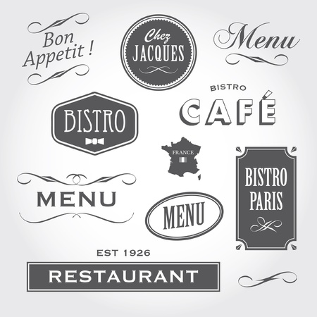 Set of french retro vintage ornaments, badges, banners, labels, signs bistro cafe restaurant