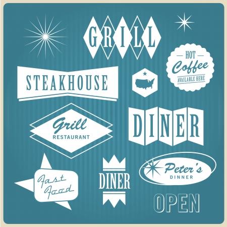 vintage cafe: illustrazione d'epoca banner noi ristoranti, tavola calda, griglia, steakhouse e fast food Vettoriali