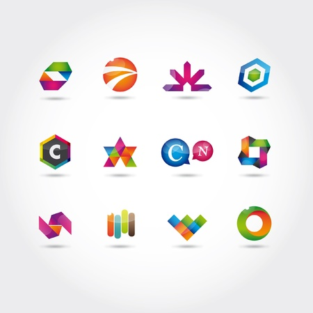 glossy and colorful logo and icons template Stock Vector - 16211821