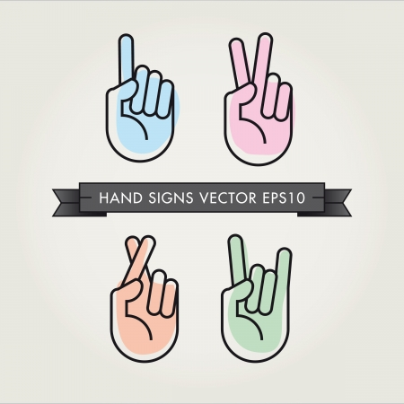 hand gestures, signals and signs Stock Vector - 16432578