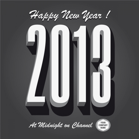 Happy new year 2013 retro vintage tv show Vector