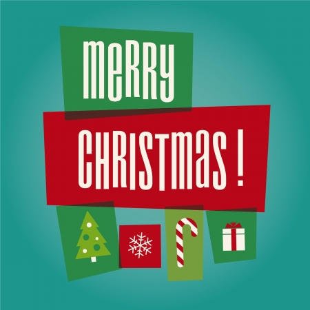 Merry Christmas card illustration icons Vector