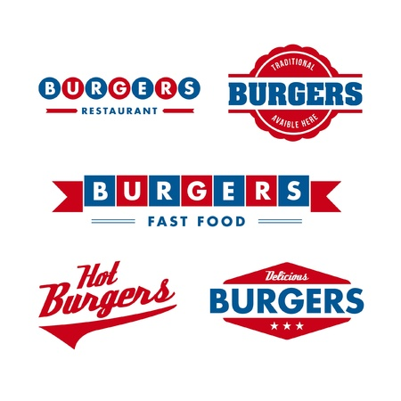 set of vintage fast food restaurant logo, panel, badge and label