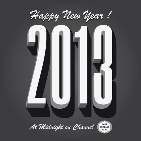 Happy new year 2013 retro vintage tv show and cinema Vector