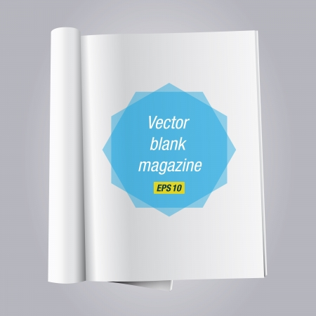 open book magazine with blank white pages Vector
