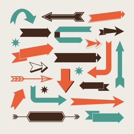 anni settanta: Set di frecce e segni indicazioni a sinistra, destra, in alto verso il basso Vettoriali