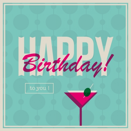 Birthday card for woman with cocktail drink Stock Vector - 16432586