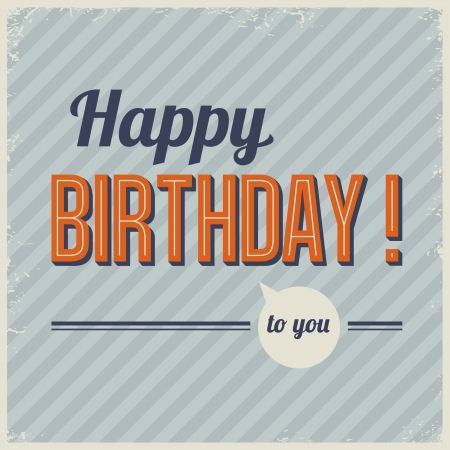 birthday card: Retro vintage birthday card with grunge frame and background pattern Illustration