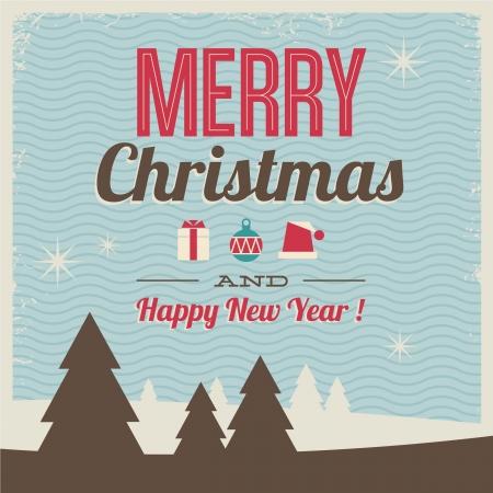anni settanta: biglietto di auguri, buon Natale e felice anno nuovo con l'illustrazione icone e motivo di sfondo, stile vintage retr�