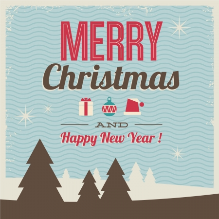 greeting card, merry christmas and happy new year with icons illustration and pattern background, vintage retro style Vector