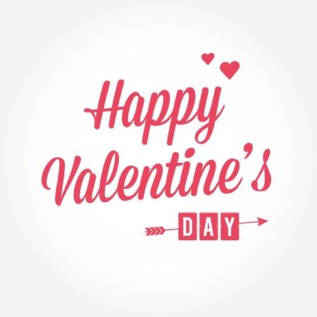 Happy Valentines day card with trendy elegant handwritting type Illustration