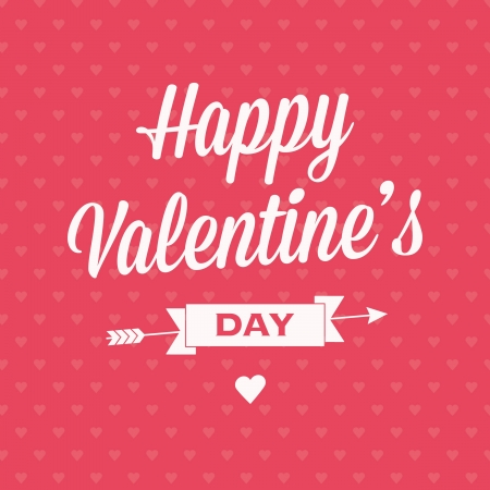 Happy Valentine�s day card with ribbons and background pattern semaless heart Stock Vector - 16659243