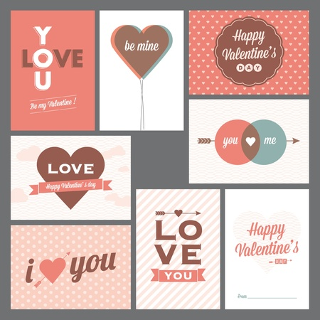 romantic date: 8 elegant and trendy happy valentine's day and weeding cards Illustration