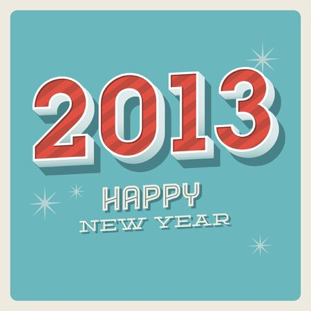Vintage retro Happy new year 2013 typographic card Vector