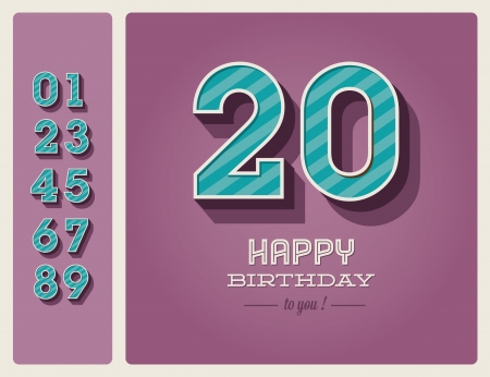 Template happy birthday card with number editable Stock Vector - 16758134