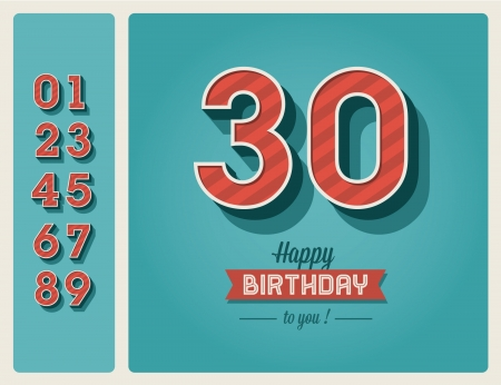 happy birtday: Template happy birthday card with number editable