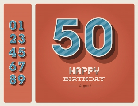 Template happy birthday card with number editable Stock Vector - 16758139
