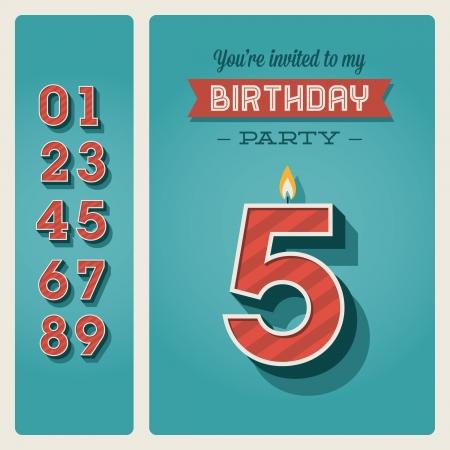number candles: Plantilla de tarjeta de invitaci�n de cumplea�os con vela n�mero editable