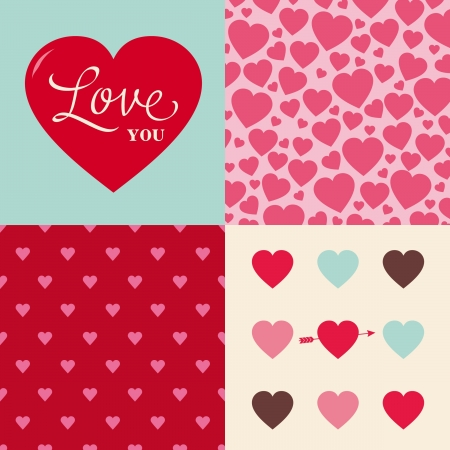 set of hearts seamless pattern background, ideal for celebrations, holidays, wedding and valentines day Stock Vector - 17005101