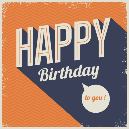 retro type: Vintage retro happy birthday card, with fonts, grunge frame and chevrons seamless background