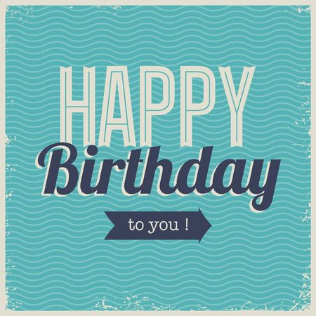 50s: Vintage retro happy birthday card, with fonts, grunge frame and chevrons seamless background