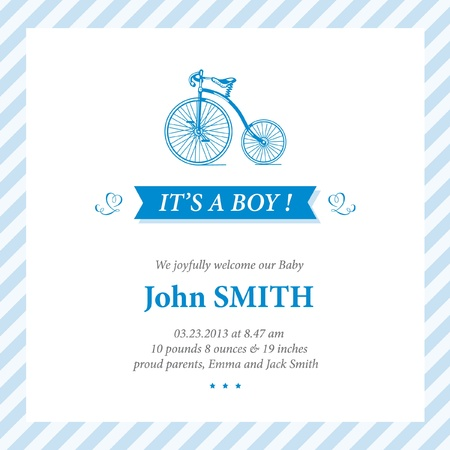 Baby announcement card editable vector with bicycle illustration for baby boy Vector