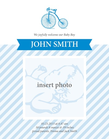 baby announcement card template with editable photo for baby boy Vector