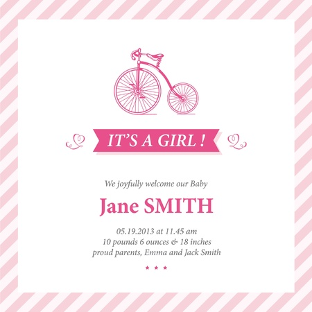 baby announcement: Baby announcement card editable with bicycle illustration for baby girl