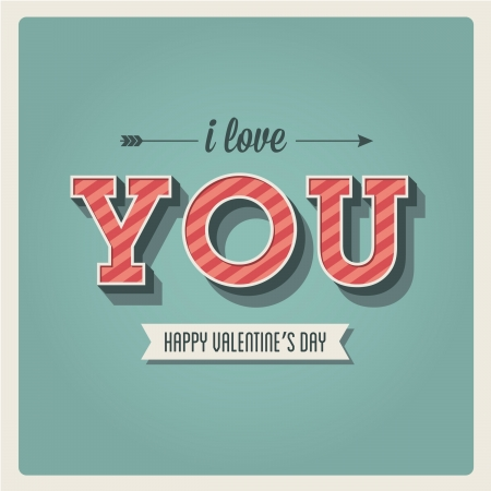 Happy Valentines day card, i love you, font type, 3 dimensional, vintage retro Vector