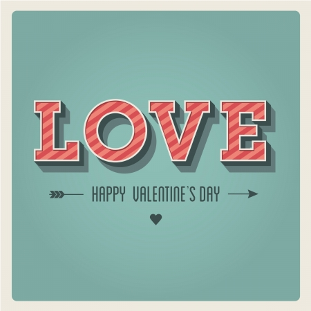 Happy Valentines day card, i love you, font type, 3 dimensional, vintage retro Stock Vector - 17226337