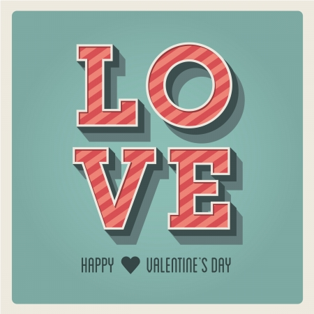 Happy Valentines day card, i love you, font type, 3 dimensional, vintage retro Stock Vector - 17226336