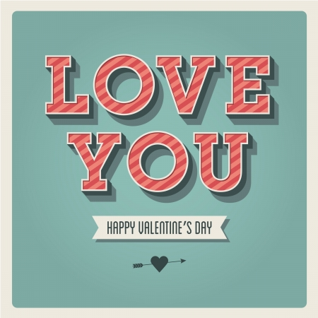 love you: Happy Valentines day card, i love you, font type, 3 dimensional, vintage retro Illustration